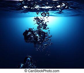 süßwasser, mit, blasen