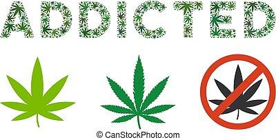 süchtig, text, mosaik, cannabis