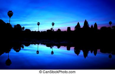 süden, tor, von, angkor thom, cambodscha
