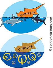 süllyedő, cápa, ciprus, euro