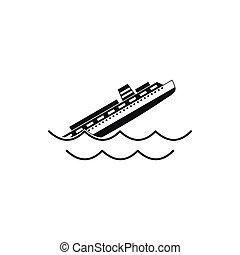 süllyedő, ikon, hajó, mód, egyszerű