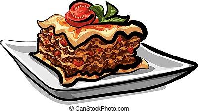 sült, lasagna