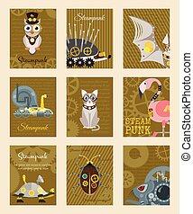 sündisznó, dekoratív, fantasztikus, állhatatos, festival., steampunk, keret, fém, mód, vektor, vagy, metszés, kártya, flamingó, fogaskerék-áttétel, állat, ganajtúróbogár, ábra, fél, pistols.
