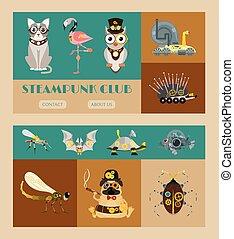 sündisznó, dekoratív, fantasztikus, állhatatos, festival., steampunk, keret, fém, mód, vektor, vagy, metszés, flamingó, fogaskerék-áttétel, állat, ganajtúróbogár, ábra, fél, szalagcímek, pistols.