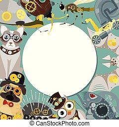 sündisznó, dekoratív, fantasztikus, vagy, üt, keret, motívum, fish, festival., fém, mód, kerek, metszés, vektor, fogaskerék-áttétel, állat, steampunk, ábra, fél, pistols.