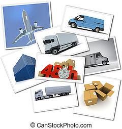 sürgető, szállítás, rakomány