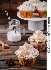 sütőtök, cupcakes, díszes, noha, krém sajt jégvirág