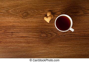 süti, csésze, fából való, tea, csípős, asztal