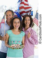 süti, család, zászlók, negyedik, szabadban, július,...