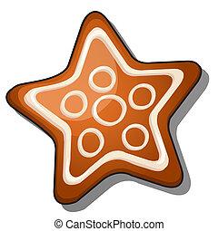 süti, csillag, cukorbevonat, elszigetelt, háttér., alakít, vektor, fehér, illustration.