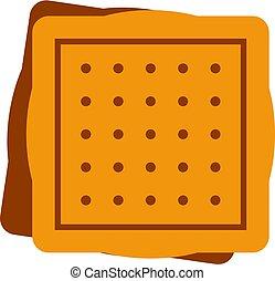 süti, derékszögben, elszigetelt, ikon