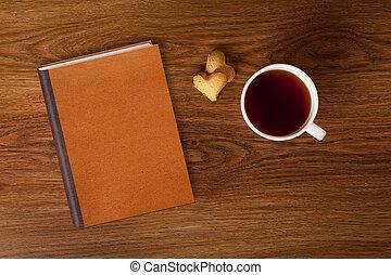 süti, nő, csésze, erdő, tea, könyv