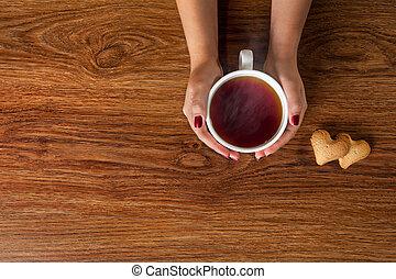süti, nő, csésze, fából való, tea, csípős, birtok, asztal