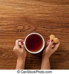 süti, nő, csésze, tea, csípős, birtok