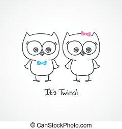sýček, dvojčata