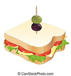 sýr, a, rajče, sendvič