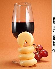 sýr, a, víno