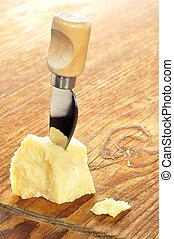 sýr, dřevěný, sekat prkna, parmesan, skladba