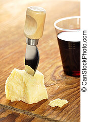 sýr, dřevěný, sekat prkna, parmesan, skladba, víno