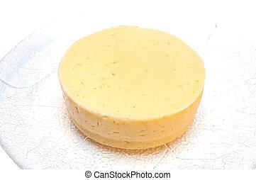 sýr, krutý, deska, kolem