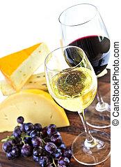 sýr, víno