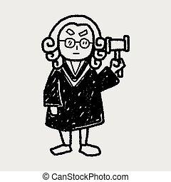 sędzia, doodle, prawnik