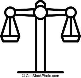 sędzia, ikona, styl, waga, szkic