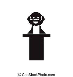 sędzia, płaski, biały, czarnoskóry, ikona