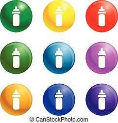 słój, polycarbonate, wektor, komplet, ikony