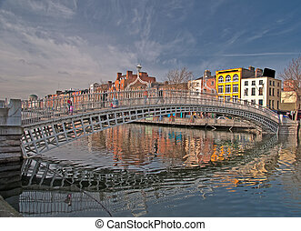 sławny, dublin, punkt orientacyjny, ha, pens, most, irlandia