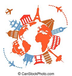 sławny, podróż, świat, punkty orientacyjny