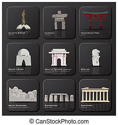 sławny punkt orientacyjny, od, świat, ikona, komplet
