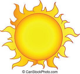 słońce, żółty, lustrzany