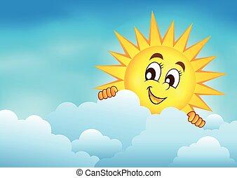 słońce, 3, niebo, pochmurny, przyczajony
