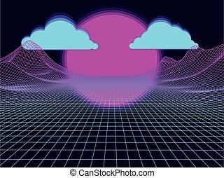 słońce, abstrakcyjny, oczko, clouds., tło., wektor, krajobraz, futurystyczny
