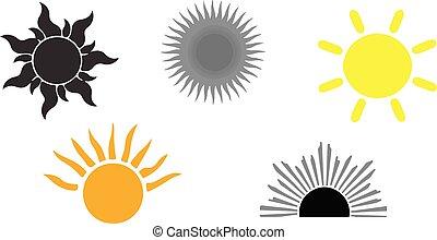 słońce, białe tło, ikona