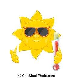 słońce, białe tło, termometr