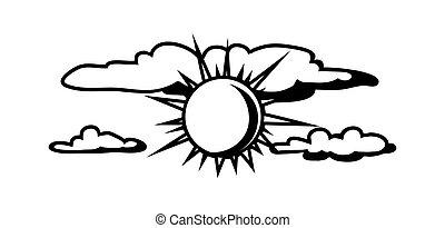 słońce, biały, czarnoskóry, clouds.