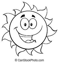 słońce, biały, czarnoskóry, szczęśliwy