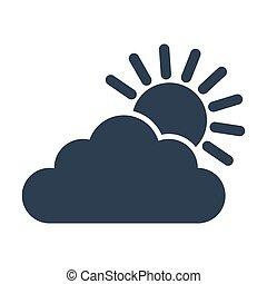 słońce, biały, ikona, chmura, tło.