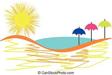 słońce, biały, odizolowany, parasole, tło.
