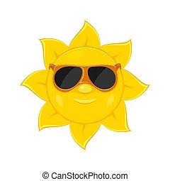 słońce, biały, sunglasses, tło