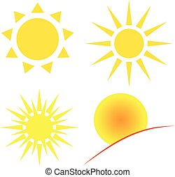 słońce, biały, tło.
