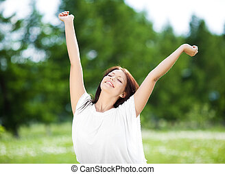 słońce, brunetka, piękny, ciepły, lato, kobieta, dzień, rozciąganie, młody