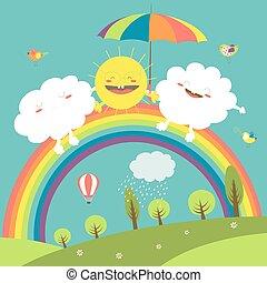 słońce, chmura nieba, tęcza, szczęśliwy