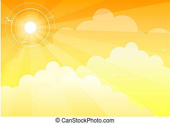 słońce, chmury, niebo