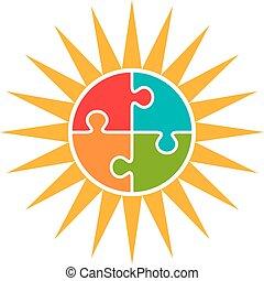 słońce, concept., autism, wektor, logo, zagadka