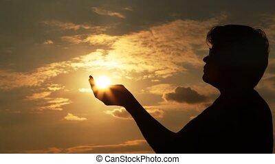 słońce, człowiek, doprowadzenia, siła robocza