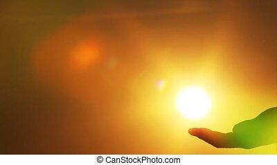 słońce, dotyka, ręka