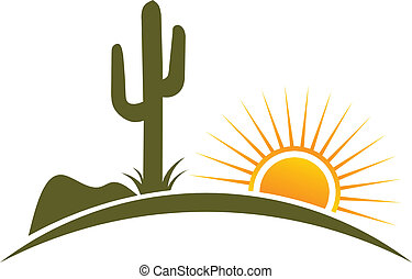 słońce, elementy, projektować, pustynia, logo
